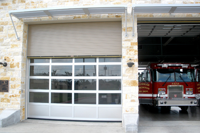close up of a glass garage door at a fire station